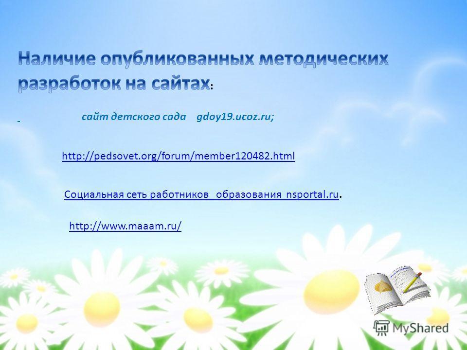 http://pedsovet.org/forum/member120482. html Социальная сеть работников образования nsportal.ru Социальная сеть работников образования nsportal.ru. http://www.maaam.ru/