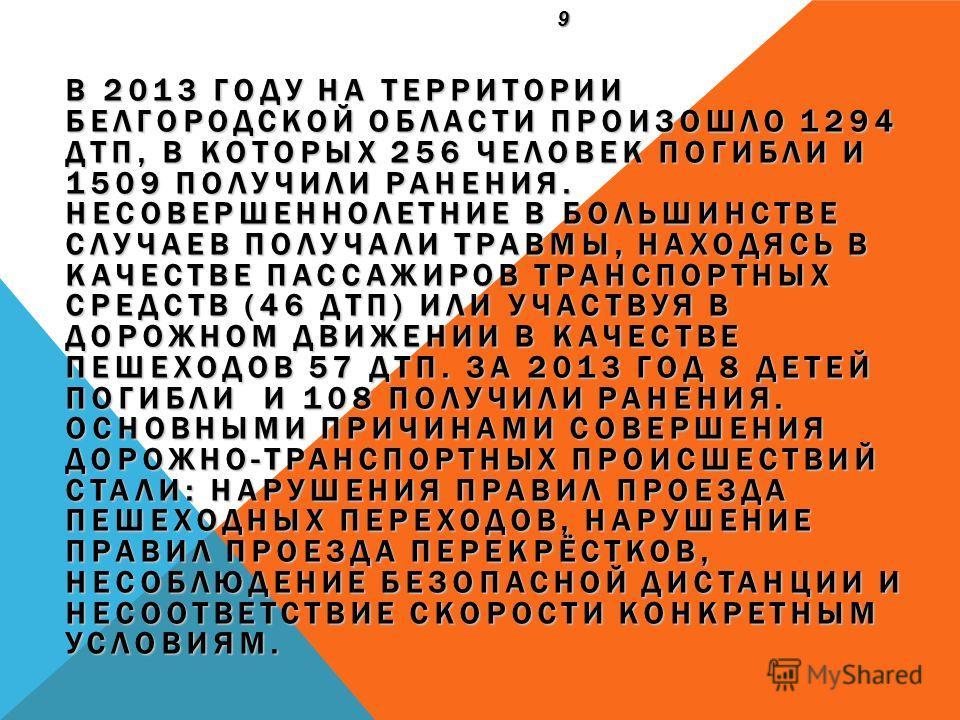 В 2013 ГОДУ НА ТЕРРИТОРИИ БЕЛГОРОДСКОЙ ОБЛАСТИ ПРОИЗОШЛО 1294 ДТП, В КОТОРЫХ 256 ЧЕЛОВЕК ПОГИБЛИ И 1509 ПОЛУЧИЛИ РАНЕНИЯ. НЕСОВЕРШЕННОЛЕТНИЕ В БОЛЬШИНСТВЕ СЛУЧАЕВ ПОЛУЧАЛИ ТРАВМЫ, НАХОДЯСЬ В КАЧЕСТВЕ ПАССАЖИРОВ ТРАНСПОРТНЫХ СРЕДСТВ (46 ДТП) ИЛИ УЧАСТ