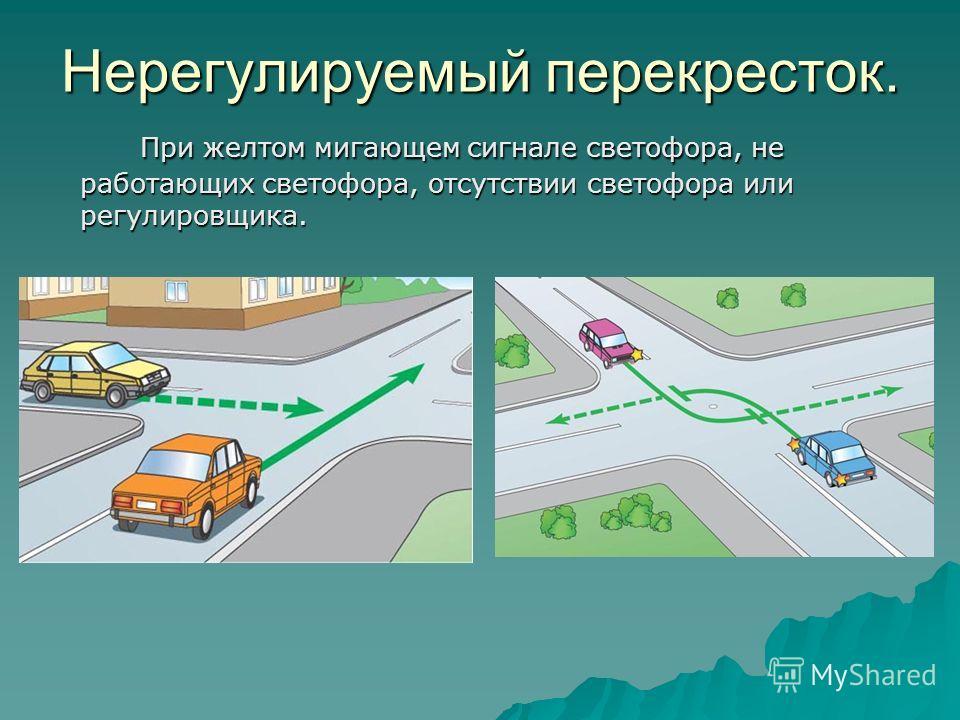 Нерегулируемый перекресток. При желтом мигающем сигнале светофора, не работающих светофора, отсутствии светофора или регулировщика.