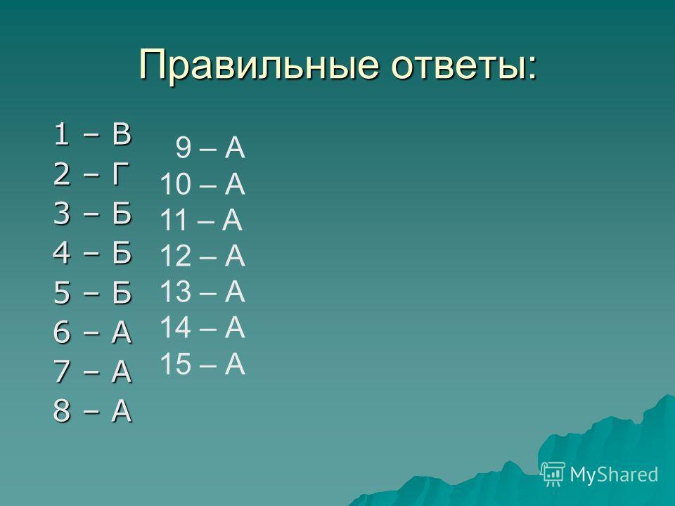 Правильные ответы: 1 – В 2 – Г 3 – Б 4 – Б 5 – Б 6 – А 7 – А 8 – А 9 – А 10 – А 11 – А 12 – А 13 – А 14 – А 15 – А