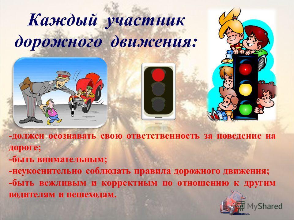 Каждый участник дорожного движения: -должен осознавать свою ответственность за поведение на дороге; -быть внимательным; -неукоснительно соблюдать правила дорожного движения; -быть вежливым и корректным по отношению к другим водителям и пешеходам.