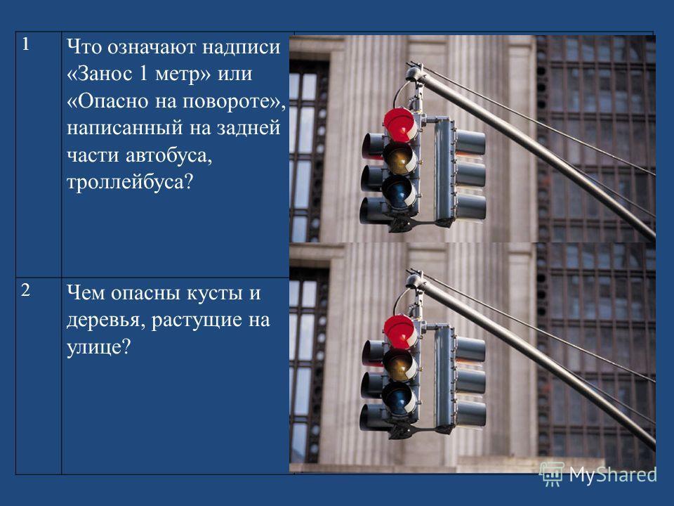 1 Что означают надписи «Занос 1 метр» или «Опасно на повороте», написанный на задней части автобуса, троллейбуса? При повороте заднюю часть автобуса (троллейбуса, трамвая) заносит, он может сбить стоящего близко пешехода. 2 Чем опасны кусты и деревья