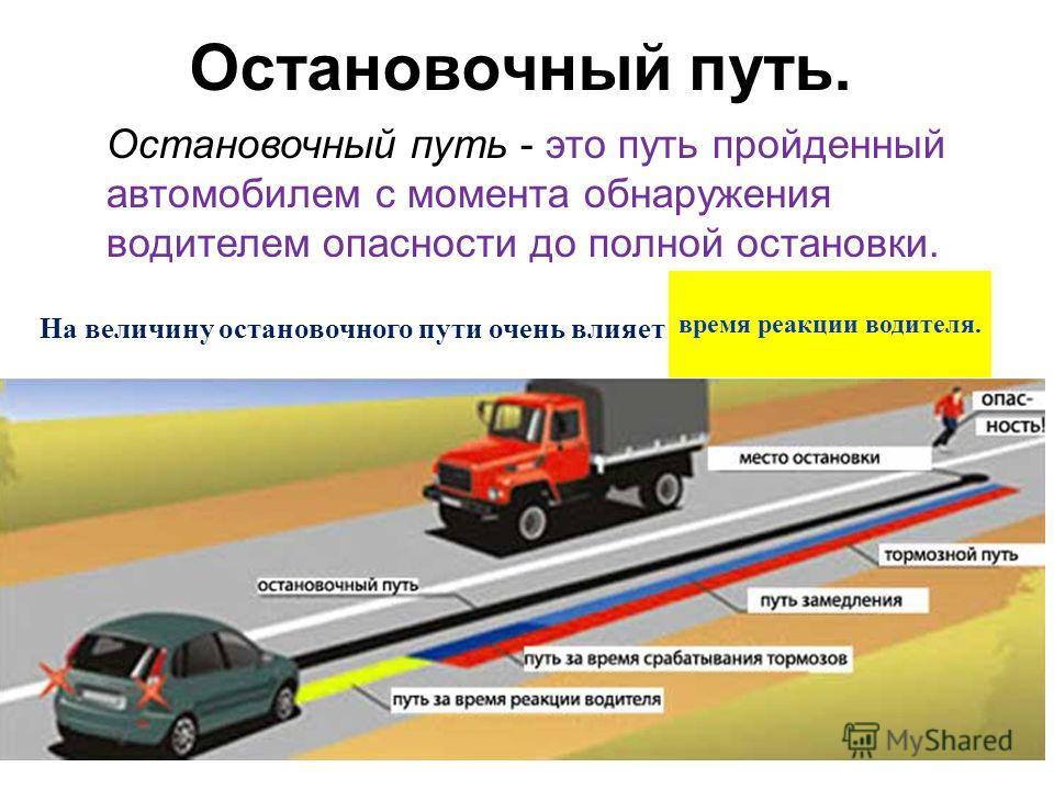 Остановочный путь. Остановочный путь - это путь пройденный автомобилем с момента обнаружения водителем опасности до полной остановки. На величину остановочного пути очень влияет время реакции водителя.