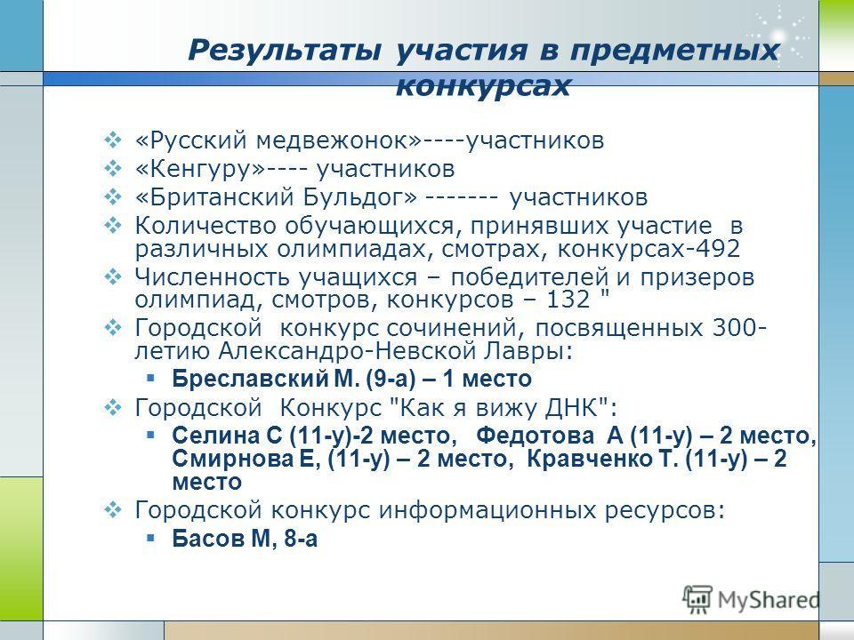 Результаты участия в предметных конкурсах «Русский медвежонок»----участников «Кенгуру»---- участников «Британский Бульдог» ------- участников Количество обучающихся, принявших участие в различных олимпиадах, смотрах, конкурсах-492 Численность учащихс