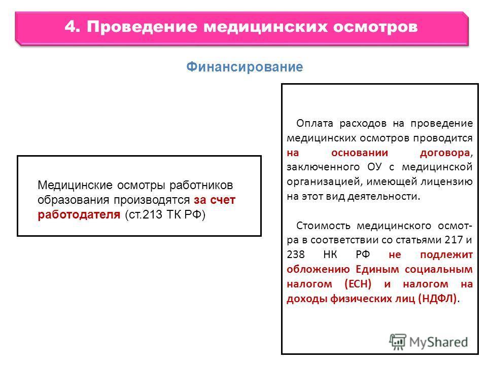 4. Проведение медицинских осмотров Оплата расходов на проведение медицинских осмотров проводится на основании договора, заключенного ОУ с медицинской организацией, имеющей лицензию на этот вид деятельности. Стоимость медицинского осмотра в соответств
