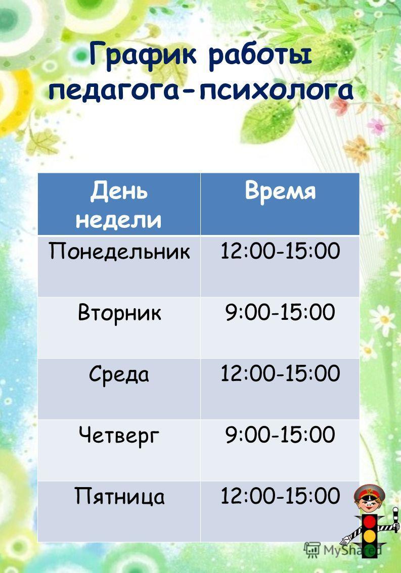 График работы педагога-психолога День недели Время Понедельник 12:00-15:00 Вторник 9:00-15:00 Среда 12:00-15:00 Четверг 9:00-15:00 Пятница 12:00-15:00