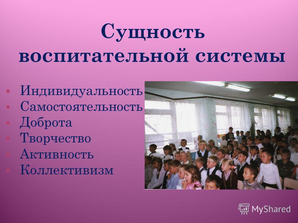 Сущность воспитательной системы Индивидуальность Самостоятельность Доброта Творчество Активность Коллективизм