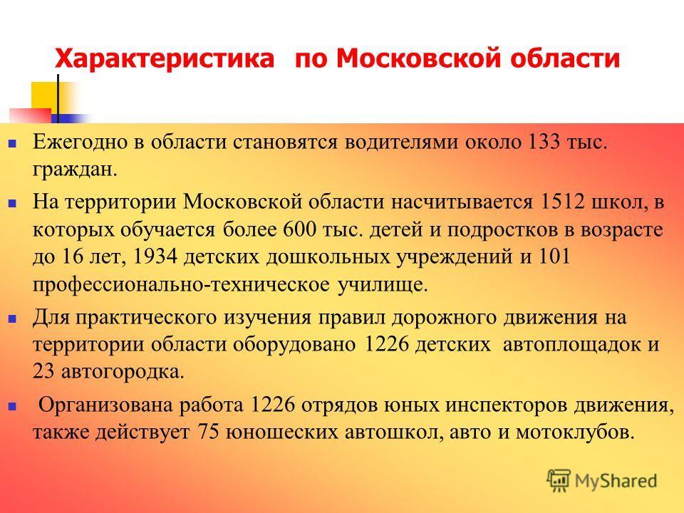 Ежегодно в области становятся водителями около 133 тыс. граждан. На территории Московской области насчитывается 1512 школ, в которых обучается более 600 тыс. детей и подростков в возрасте до 16 лет, 1934 детских дошкольных учреждений и 101 профессион