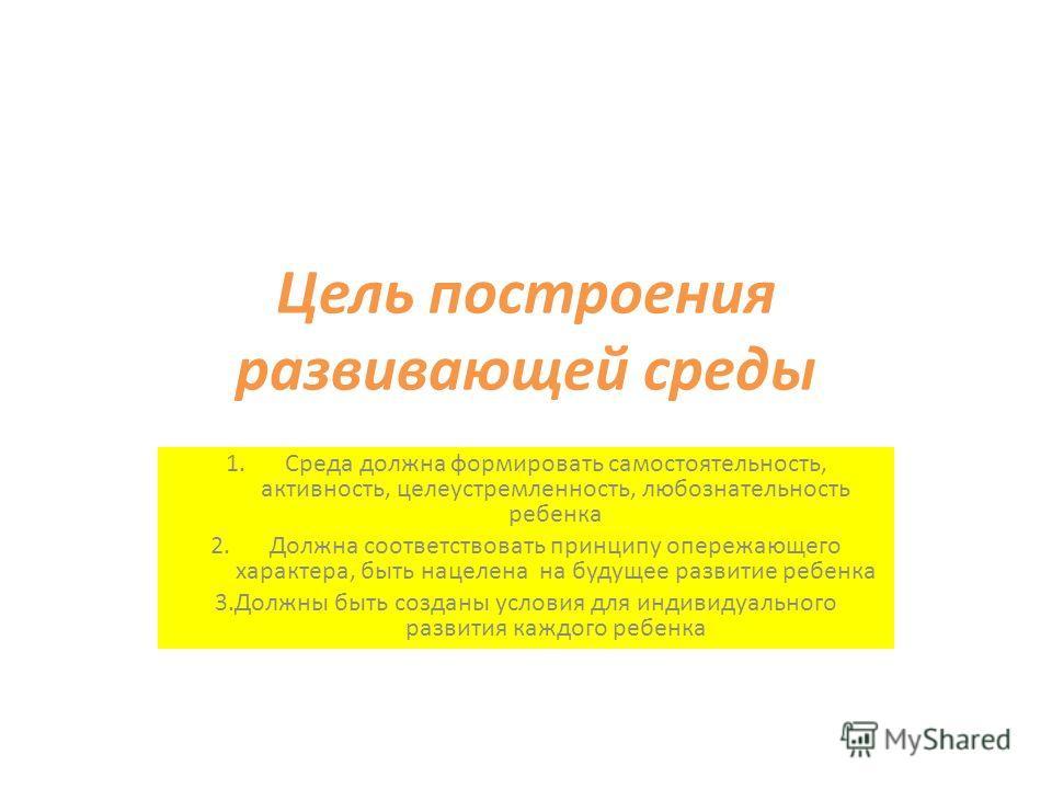 Цель построения развивающей среды 1. Среда должна формировать самостоятельность, активность, целеустремленность, любознательность ребенка 2. Должна соответствовать принципу опережающего характера, быть нацелена на будущее развитие ребенка 3. Должны б