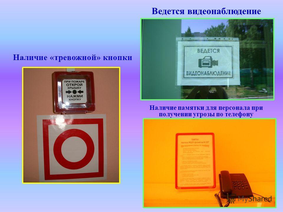 Наличие «тревожной» кнопки Ведется видеонаблюдение Наличие памятки для персонала при получении угрозы по телефону
