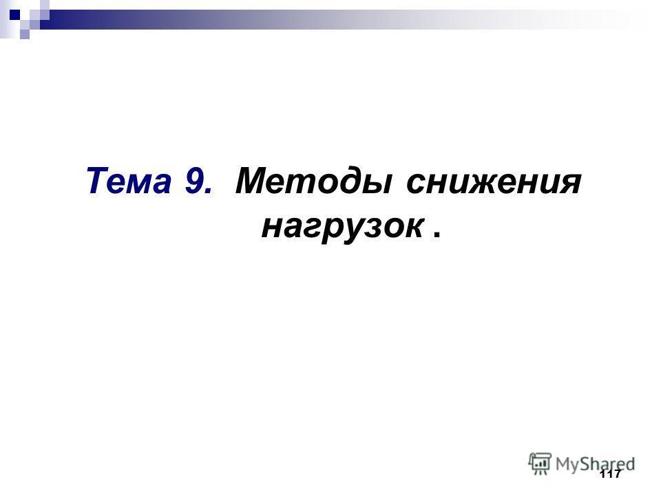 117 Тема 9. Методы снижения нагрузок.