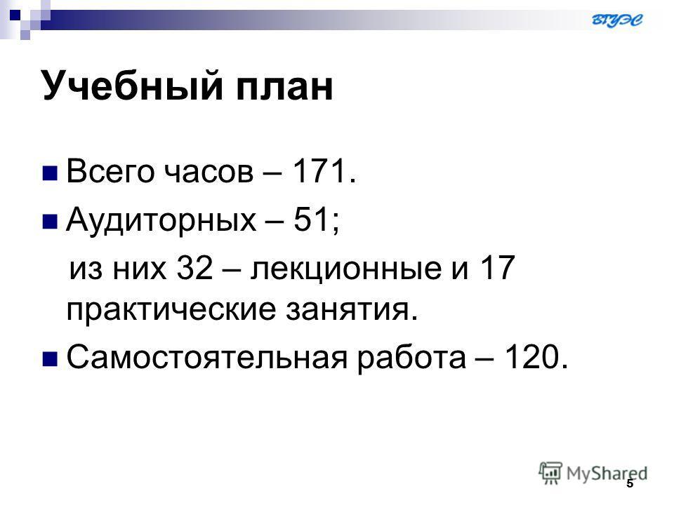 5 Учебный план Всего часов – 171. Аудиторных – 51; из них 32 – лекционные и 17 практические занятия. Самостоятельная работа – 120.