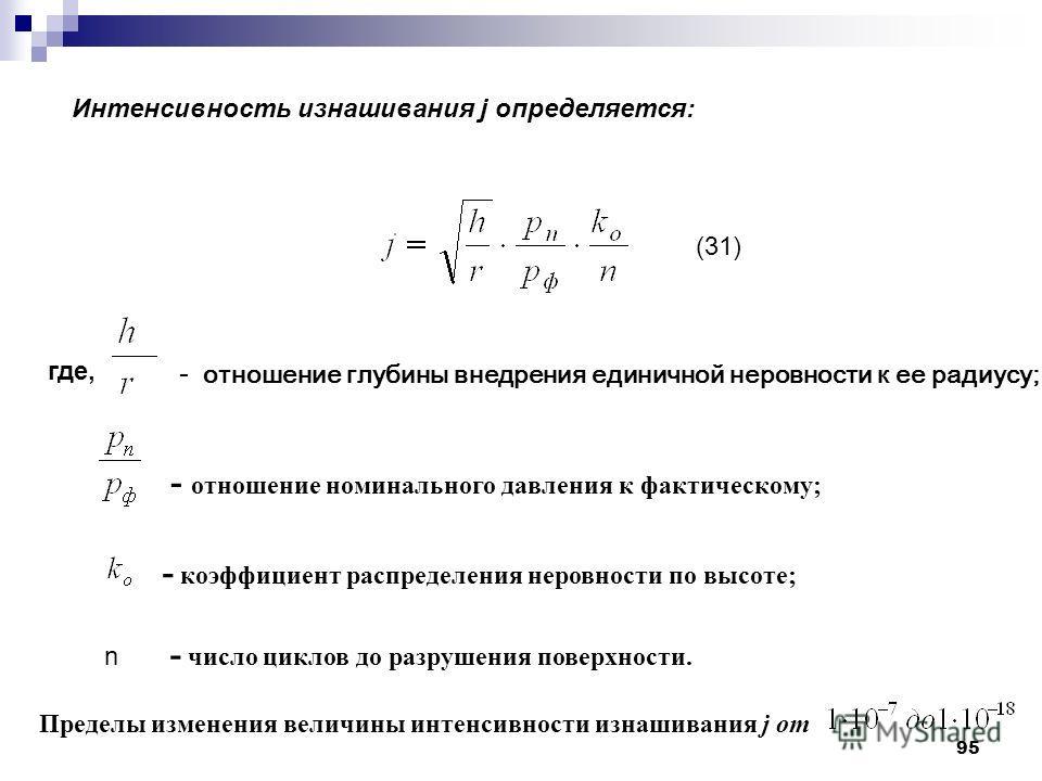 95 где, - отношение глубины внедрения единичной неровности к ее радиусу; - отношение номинального давления к фактическому; - коэффициент распределения неровности по высоте; n - число циклов до разрушения поверхности. Пределы изменения величины интенс