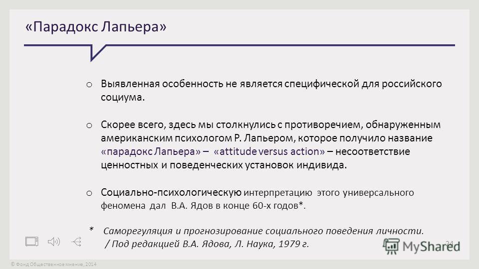 © Фонд Общественное мнение, 2014 24 «Парадокс Лапьера» o Выявленная особенность не является специфической для российского социума. o Скорее всего, здесь мы столкнулись с противоречием, обнаруженным американским психологом Р. Лапьером, которое получил