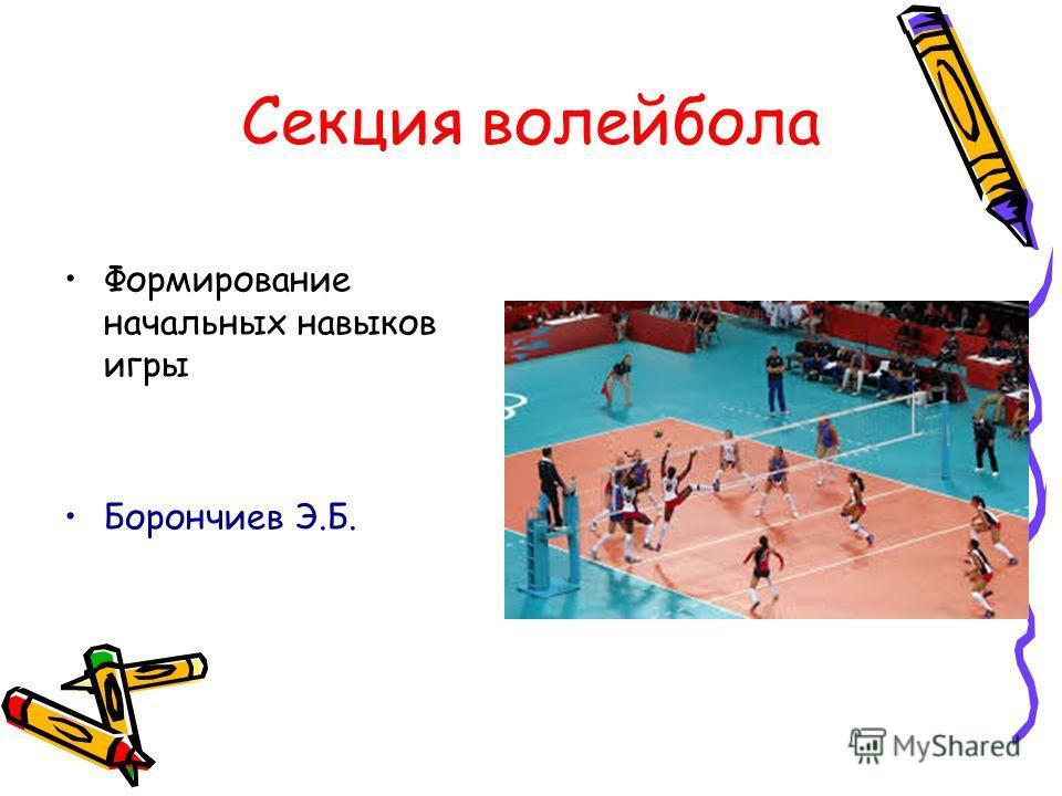 Секция волейбола Формирование начальных навыков игры Борончиев Э.Б.