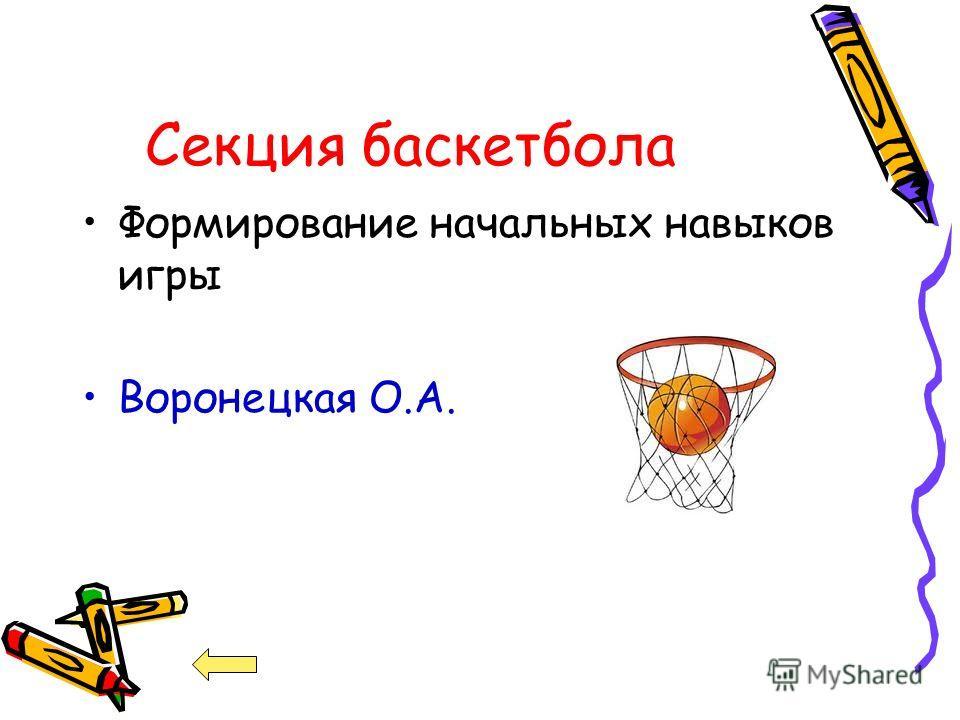 Секция баскетбола Формирование начальных навыков игры Воронецкая О.А.