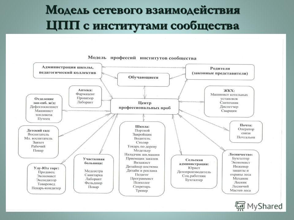 Модель сетевого взаимодействия ЦПП с институтами сообщества