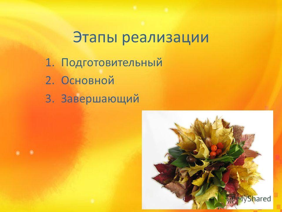 Этапы реализации 1. Подготовительный 2. Основной 3.Завершающий