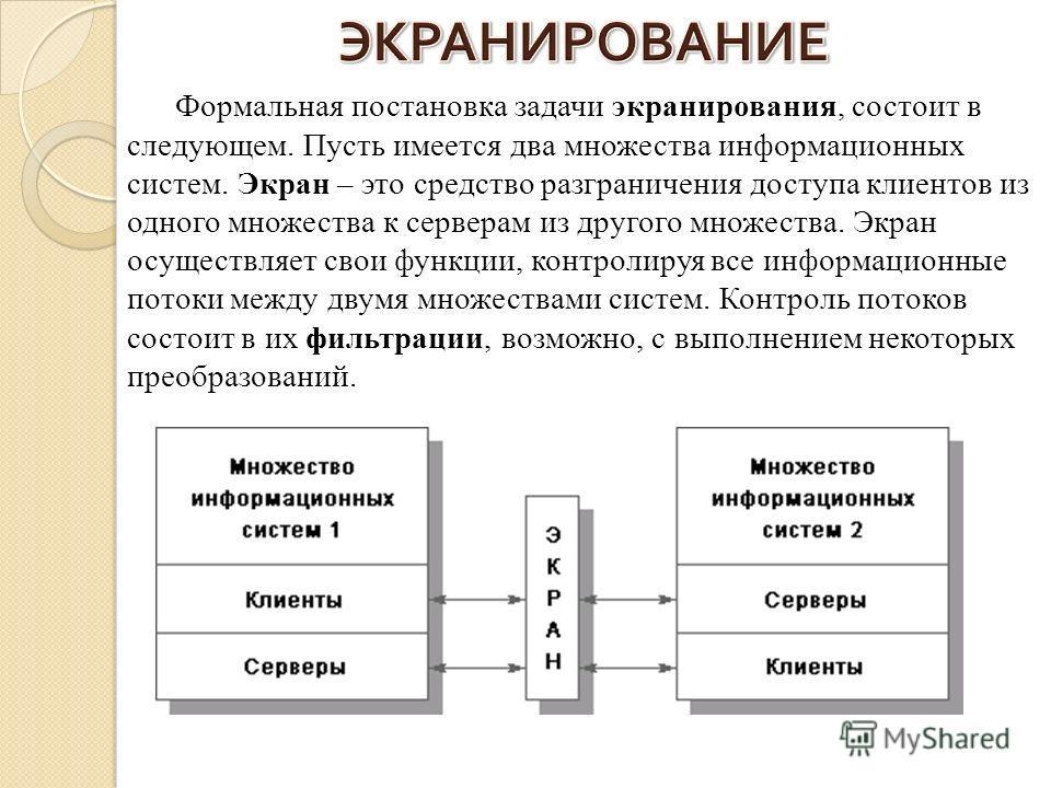 Формальная постановка задачи экранирования, состоит в следующем. Пусть имеется два множества информационных систем. Экран – это средство разграничения доступа клиентов из одного множества к серверам из другого множества. Экран осуществляет свои функц