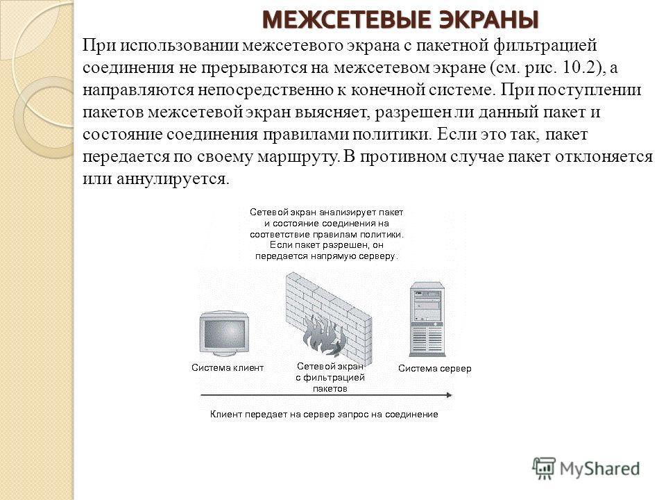 При использовании межсетевого экрана с пакетной фильтрацией соединения не прерываются на межсетевом экране (см. рис. 10.2), а направляются непосредственно к конечной системе. При поступлении пакетов межсетевой экран выясняет, разрешен ли данный пакет