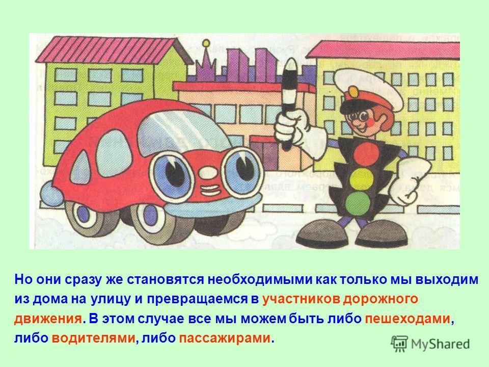 Правилами дорожного движения мы не пользуемся пока находимся дома, в школе, играем вдали от дороги.