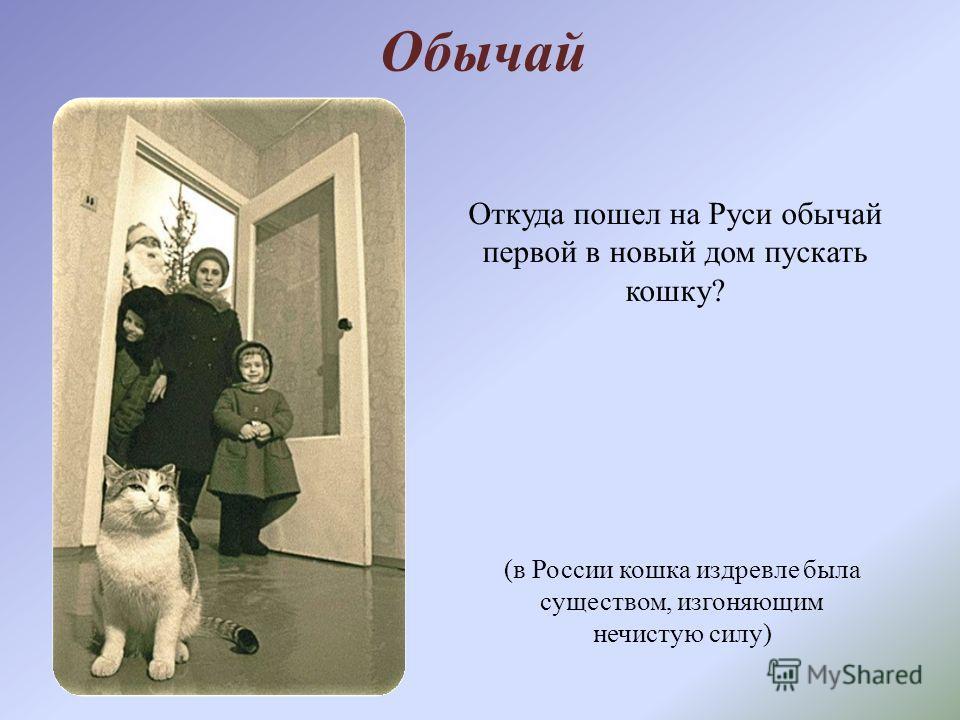 Обычай Откуда пошел на Руси обычай первой в новый дом пускать кошку? (в России кошка издревле была существом, изгоняющим нечистую силу)