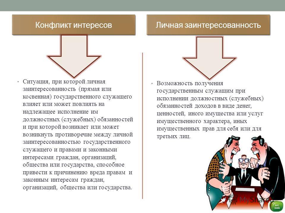 Конфликт интересов Ситуация, при которой личная заинтересованность (прямая или косвенная) государственного служащего влияет или может повлиять на надлежащее исполнение им должностных (служебных) обязанностей и при которой возникает или может возникну
