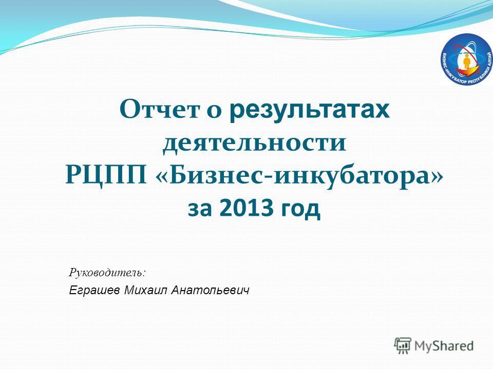 Отчет о результатах деятельности РЦПП «Бизнес-инкубатора» за 2013 год Руководитель: Еграшев Михаил Анатольевич