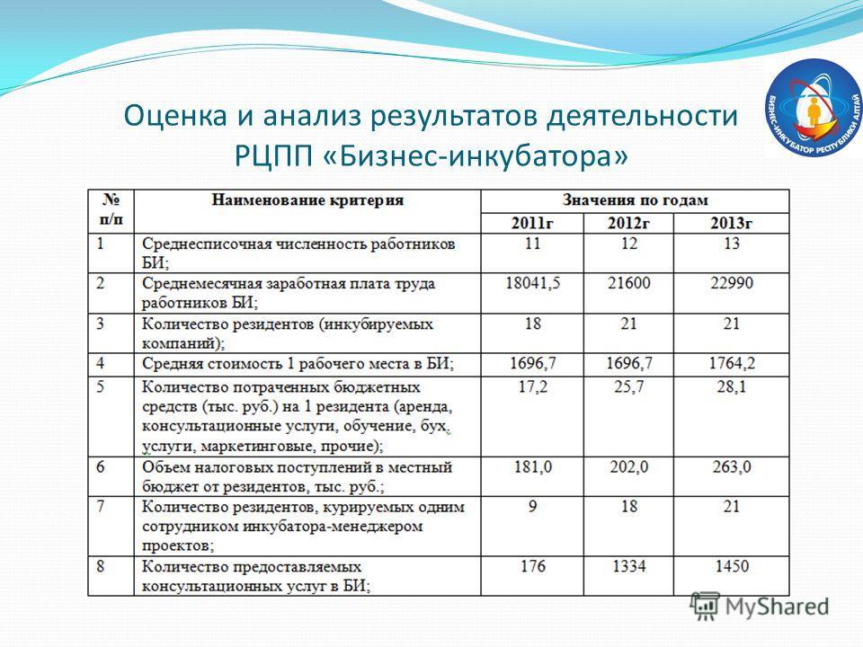 Оценка и анализ результатов деятельности РЦПП «Бизнес-инкубатора»