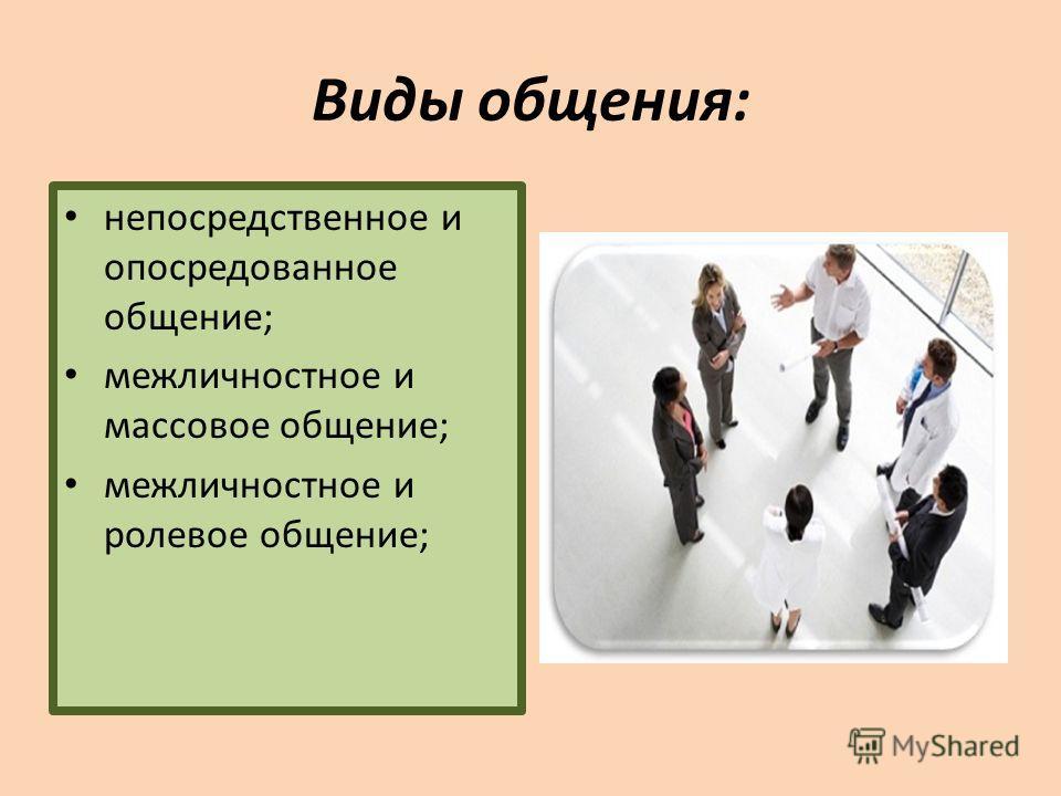 Виды общения: непосредственное и опосредованное общение; межличностное и массовое общение; межличностное и ролевое общение;