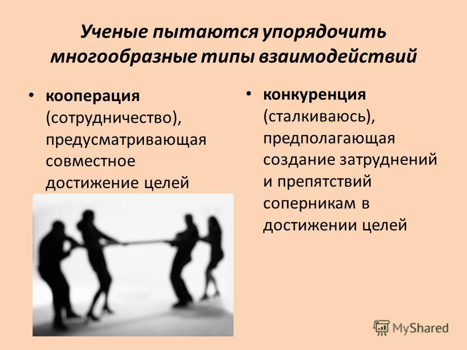 Ученые пытаются упорядочить многообразные типы взаимодействий кооперация (сотрудничество), предусматривающая совместное достижение целей конкуренция (сталкиваюсь), предполагающая создание затруднений и препятствий соперникам в достижении целей