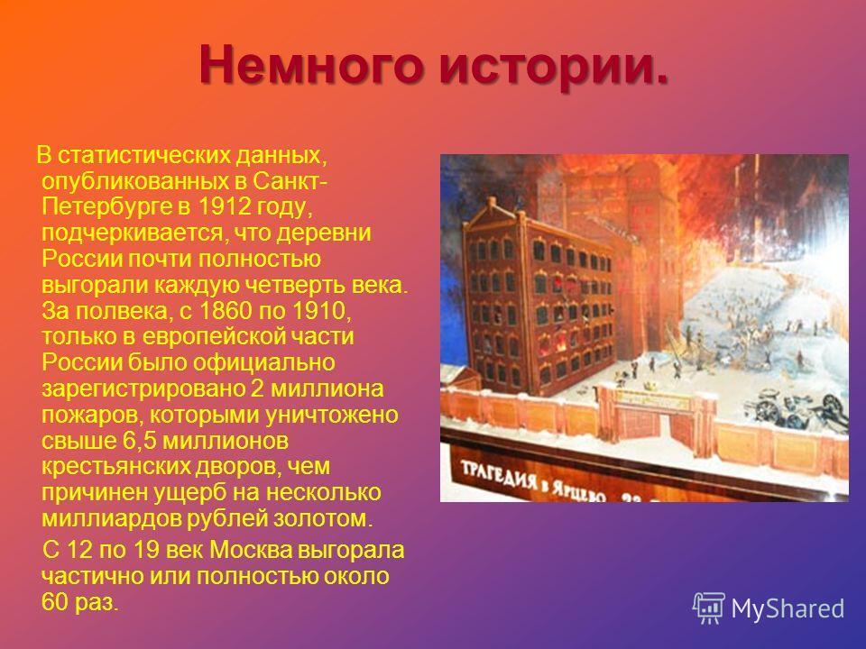 Немного истории. В статистических данных, опубликованных в Санкт- Петербурге в 1912 году, подчеркивается, что деревни России почти полностью выгорали каждую четверть века. За полвека, с 1860 по 1910, только в европейской части России было официально