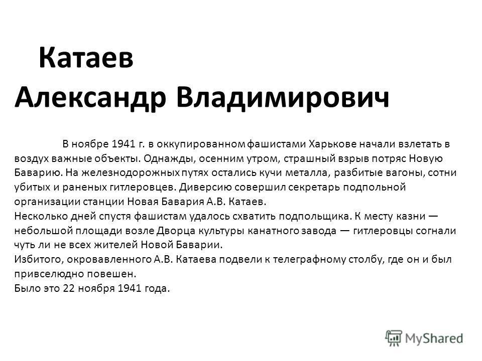 Катаев Александр Владимирович В ноябре 1941 г. в оккупированном фашистами Харькове начали взлетать в воздух важные объекты. Однажды, осенним утром, страшный взрыв потряс Новую Баварию. На железнодорожных путях остались кучи металла, разбитые вагоны,