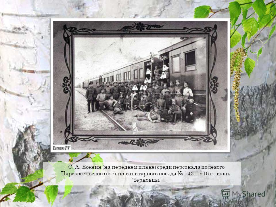 С. А. Есенин (на переднем плане) среди персонала полевого Царскосельского военно-санитарного поезда 143. 1916 г., июнь. Черновцы.