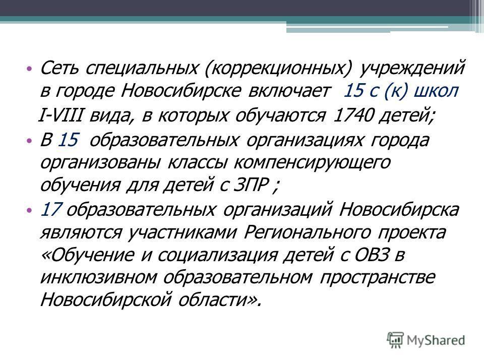 Сеть специальных (коррекционных) учреждений в городе Новосибирске включает 15 с (к) школ I-VIII вида, в которых обучаются 1740 детей; В 15 образовательных организациях города организованы классы компенсирующего обучения для детей с ЗПР ; 17 образоват