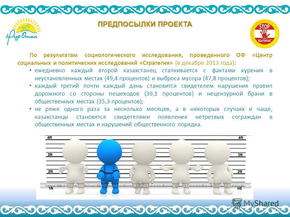 По результатам социологического исследования, проведенного ОФ «Центр социальных и политических исследований «Стратегия» (в декабре 2013 года): ежедневно каждый второй казахстанец сталкивается с фактами курения в неустановленных местах (49,4 процентов