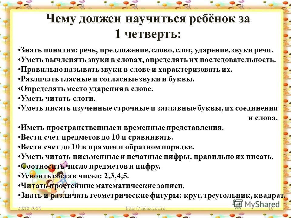Чему должен научиться ребёнок за 1 четверть: 28.10.2014http://aida.ucoz.ru10 Знать понятия: речь, предложение, слово, слог, ударение, звуки речи. Уметь вычленять звуки в словах, определять их последовательность. Правильно называть звуки в слове и хар