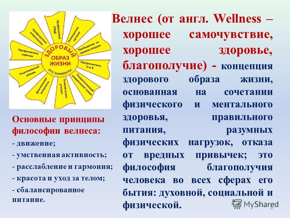 Велнес (от англ. Wellness – хорошее самочувствие, хорошее здоровье, благополучие) - концепция здорового образа жизни, основанная на сочетании физического и ментального здоровья, правильного питания, разумных физических нагрузок, отказа от вредных при