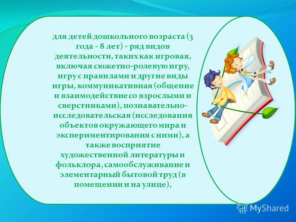 для детей дошкольного возраста (3 года - 8 лет) - ряд видов деятельности, таких как игровая, включая сюжетно-ролевую игру, игру с правилами и другие виды игры, коммуникативная (общение и взаимодействие со взрослыми и сверстниками), познавательно- исс
