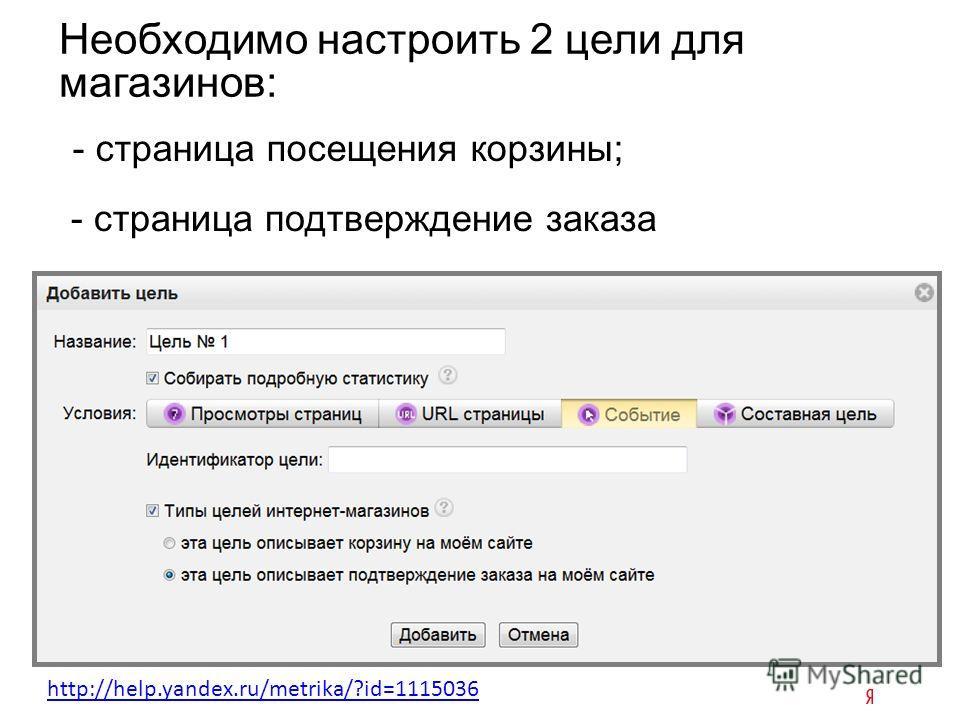 Необходимо настроить 2 цели для магазинов: - страница посещения корзины; - страница подтверждение заказа http://help.yandex.ru/metrika/?id=1115036