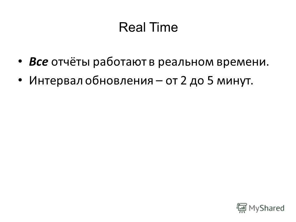 Real Time Все отчёты работают в реальном времени. Интервал обновления – от 2 до 5 минут.