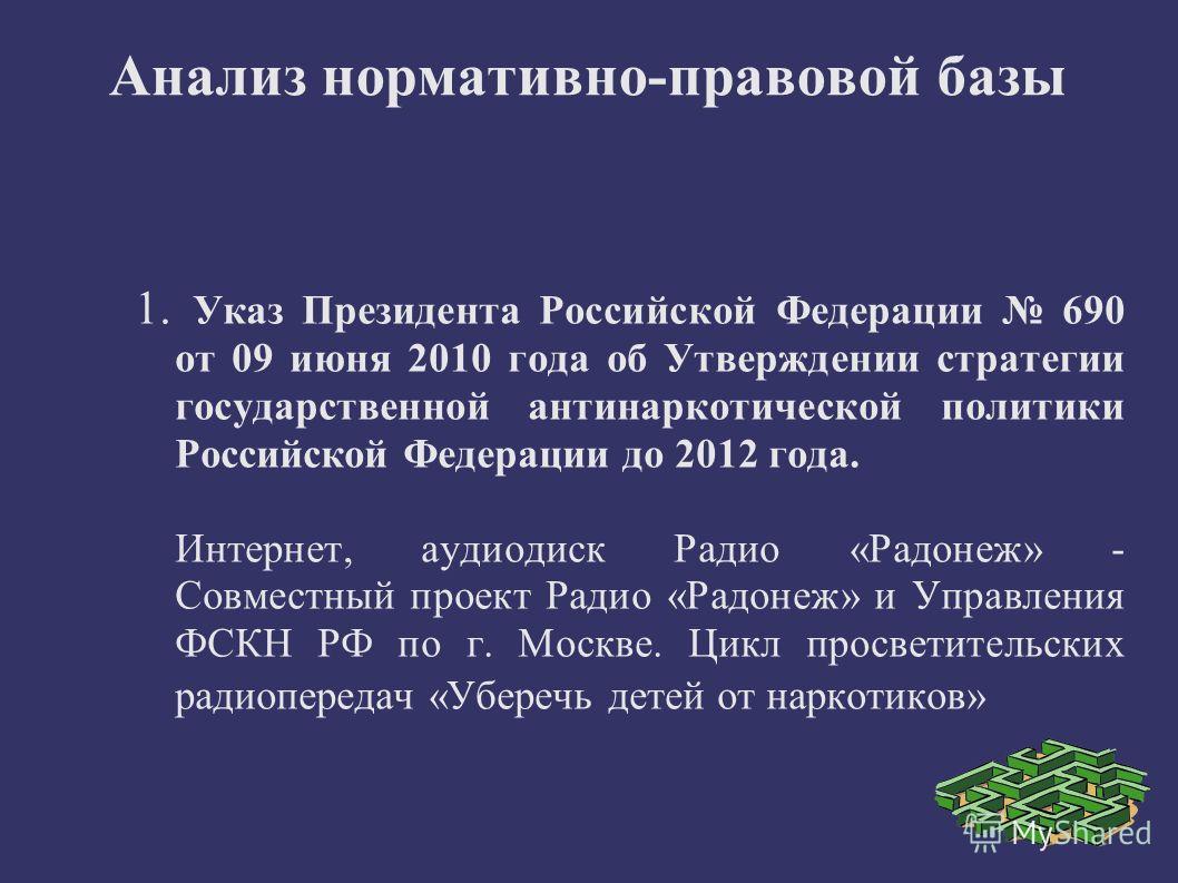 Анализ нормативно-правовой базы 1. Указ Президента Российской Федерации 690 от 09 июня 2010 года об Утверждении стратегии государственной антинаркотической политики Российской Федерации до 2012 года. Интернет, аудиодиск Радио «Радонеж» - Совместный п