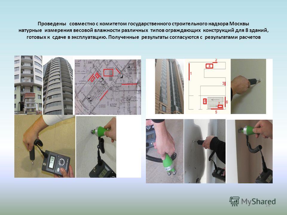 Проведены совместно с комитетом государственного строительного надзора Москвы натурные измерения весовой влажности различных типов ограждающих конструкций для 8 зданий, готовых к сдаче в эксплуатацию. Полученные результаты согласуются с результатами