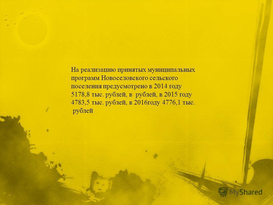 На реализацию принятых муниципальных программ Новоселовского сельского поселения предусмотрено в 2014 году 5178,8 тыс. рублей, в рублей, в 2015 году 4783,5 тыс. рублей, в 2016 году 4776,1 тыс. рублей