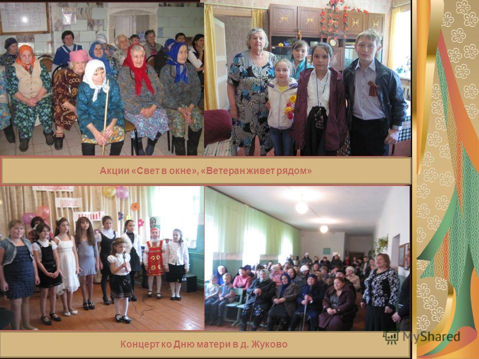 Акции «Свет в окне», «Ветеран живет рядом» Концерт ко Дню матери в д. Жуково