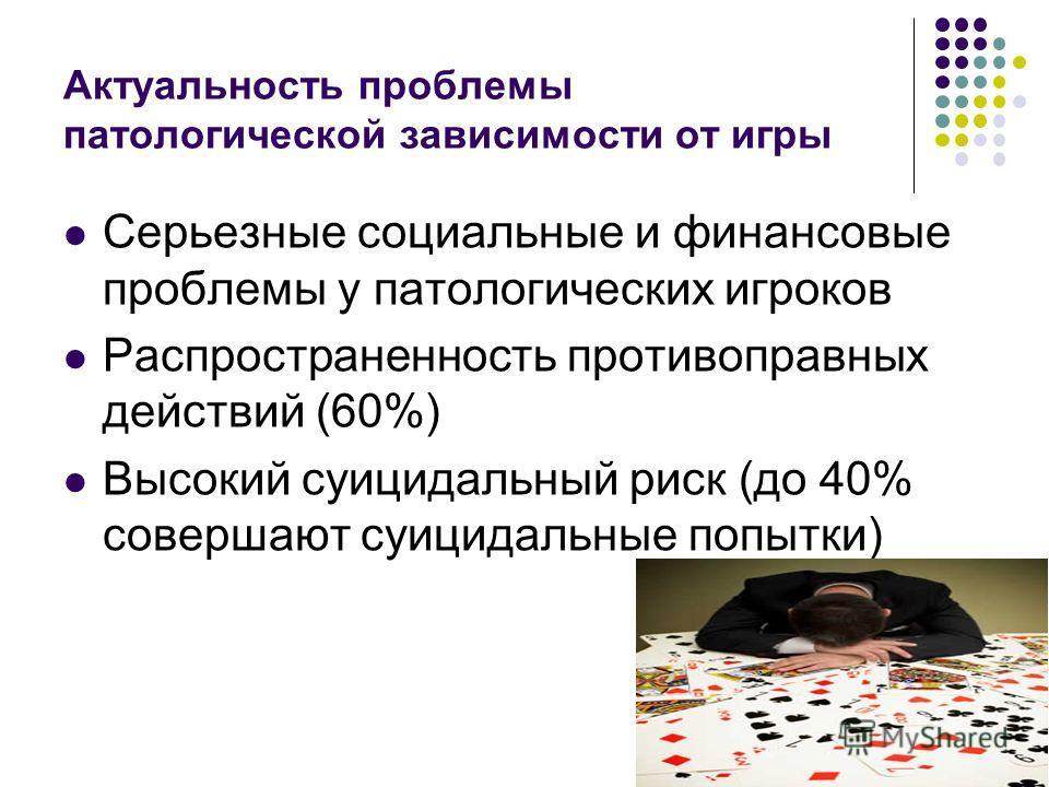 Актуальность проблемы патологической зависимости от игры Серьезные социальные и финансовые проблемы у патологических игроков Распространенность противоправных действий (60%) Высокий суицидальный риск (до 40% совершают суицидальные попытки)