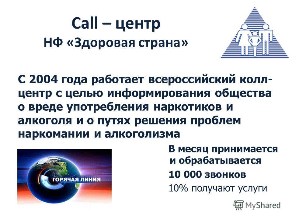Call – центр НФ «Здоровая страна» С 2004 года работает всероссийский колл- центр с целью информирования общества о вреде употребления наркотиков и алкоголя и о путях решения проблем наркомании и алкоголизма В месяц принимается и обрабатывается и обра