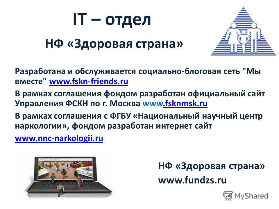 IT – отдел НФ «Здоровая страна» Разработана и обслуживается социально-блоговая сеть