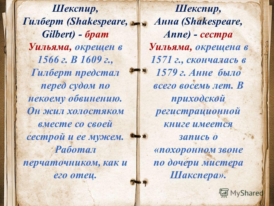 Шекспир, Гилберт (Shakespeare, Gilbert) - брат Уильяма, окрещен в 1566 г. В 1609 г., Гилберт предстал перед судом по некоему обвинению. Он жил холостяком вместе со своей сестрой и ее мужем. Работал перчаточником, как и его отец. Шекспир, Анна (Shakes
