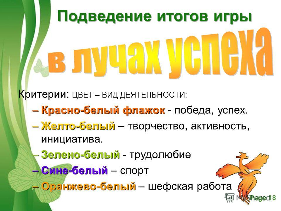 Free Powerpoint TemplatesPage 18 Подведение итогов игры Критерии: ЦВЕТ – ВИД ДЕЯТЕЛЬНОСТИ: –Красно-белый флажок –Красно-белый флажок - победа, успех. –Желто-белый –Желто-белый – творчество, активность, инициатива. –Зелено-белый –Зелено-белый - трудол